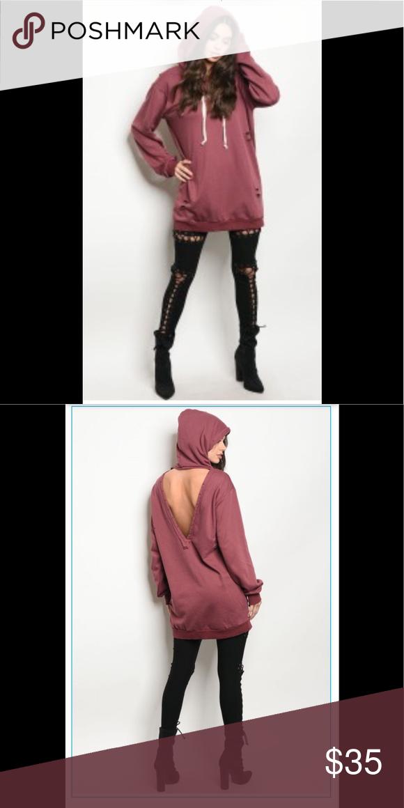 60d273be Oversized hoodie sweatshirt Super cozy oversized hoodie sweatshirt with cut  out detail in back. Burgundy color. Tops Sweatshirts & Hoodies