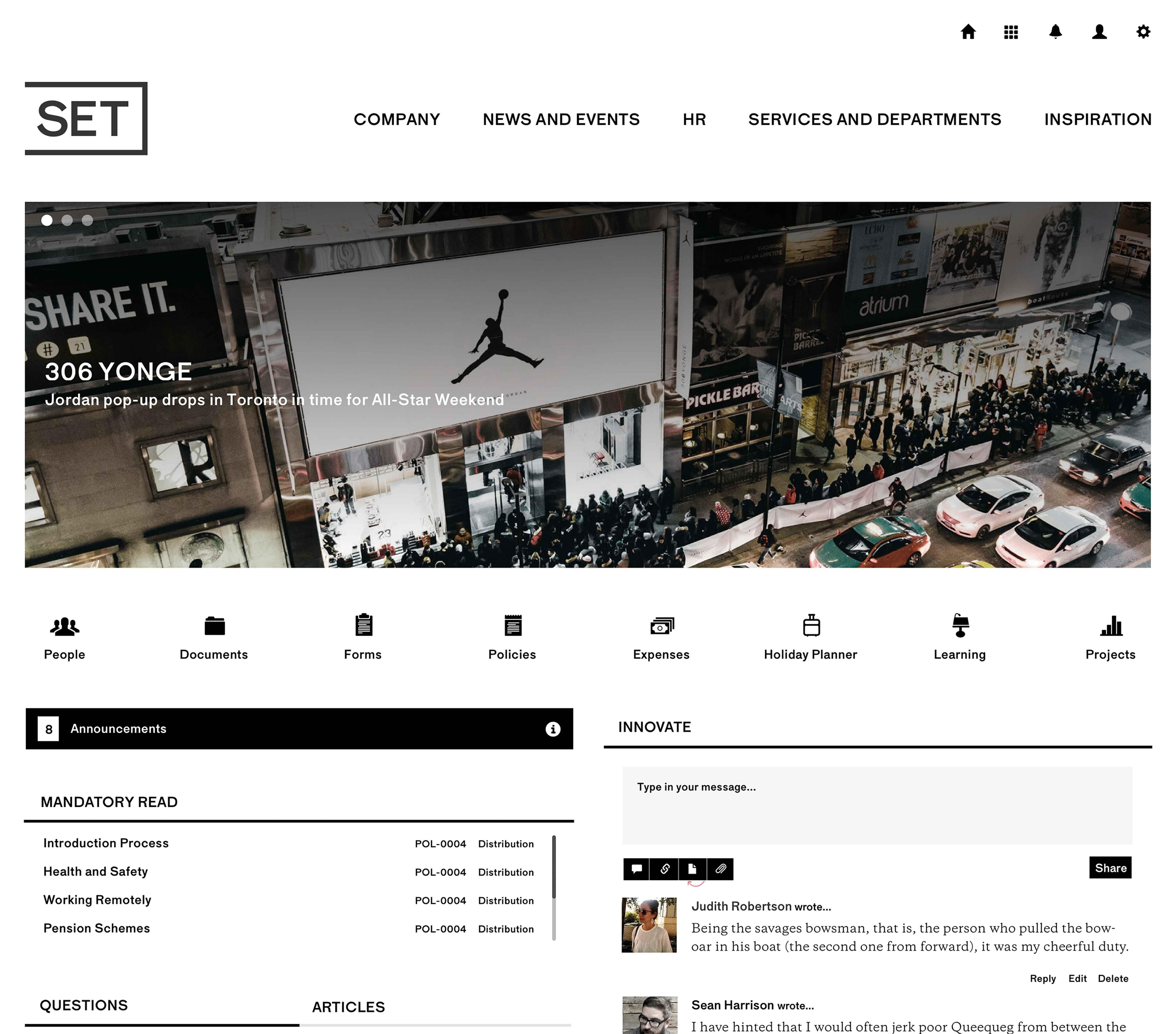 SET Creative Intranet Homepage