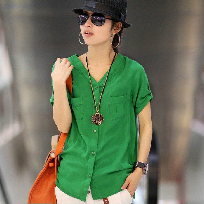 2012 New Quality Good Women Fashion Cotton Short Sleeve V Neck ...