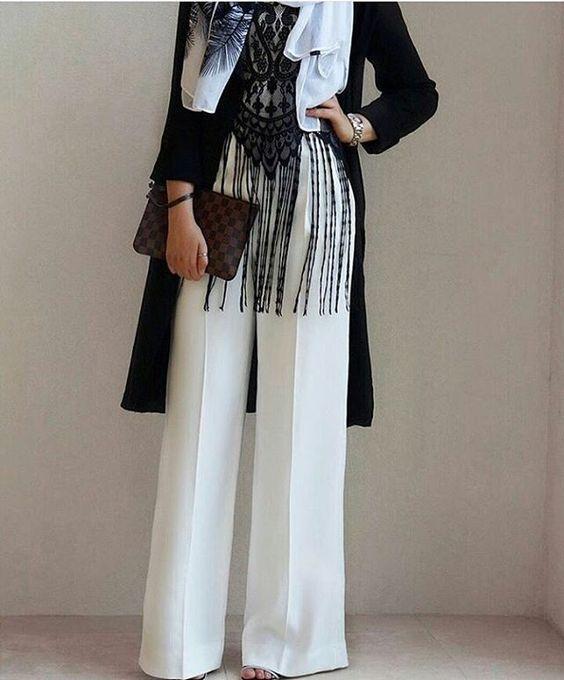 Beyaz Bol Paca Pantolon Kombini Mutevazi Kiyafetler Casual Hijab Outfit Musluman Modasi