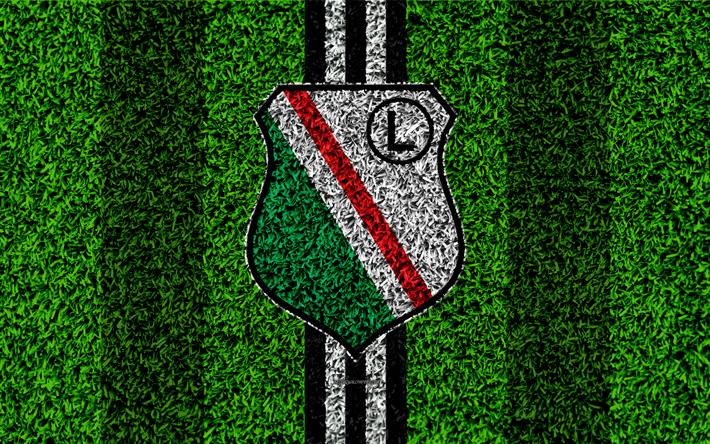 Download wallpapers Legia Warszawa, 4k, logo, football lawn, Polish football  club,