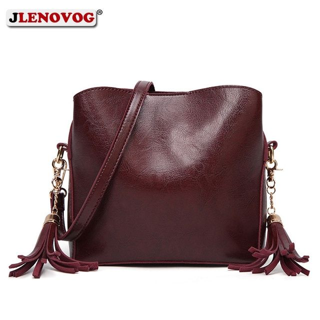 New Genuine leather Handbag Red Crossbody bags for Women Fashion Brown  Vintage Shoulder Bag Ladies Mini New Tassel Satchel Purse Review 1ada240cf2f5b