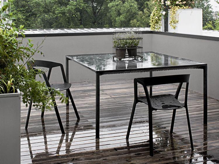 Outdoor Tisch Gartentisch Design Schwarz Beton Modern Boiacca