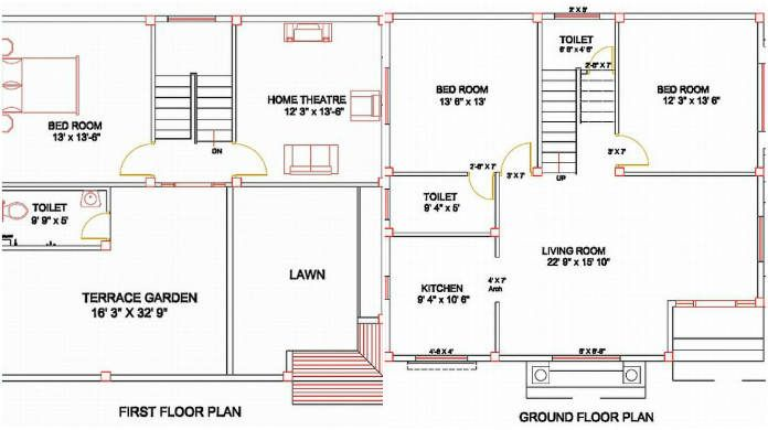 Column Layout for a residential villa of one and half floors