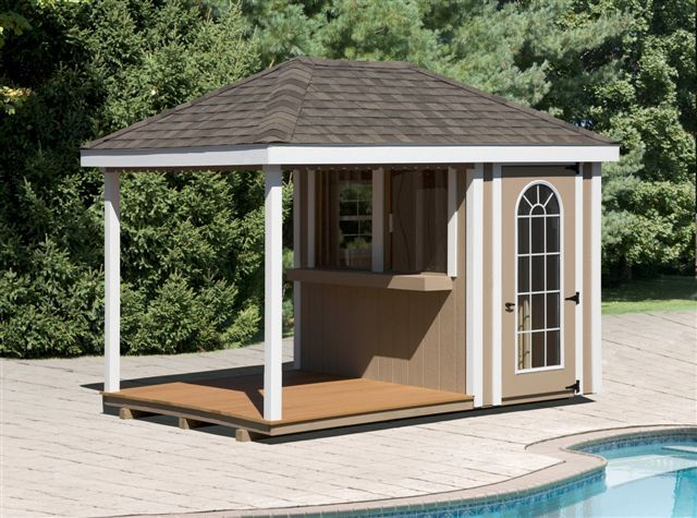 Pool sheds the poolside bar includes your choice of for Garden pool sheds