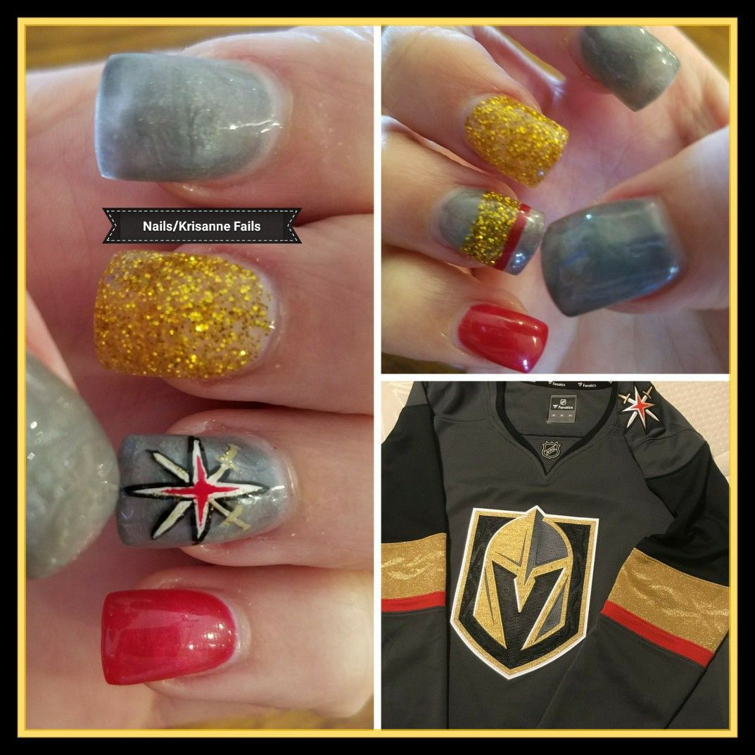 Las Vegas Golden Knights nail art. Hockey nail art | Nail art ...