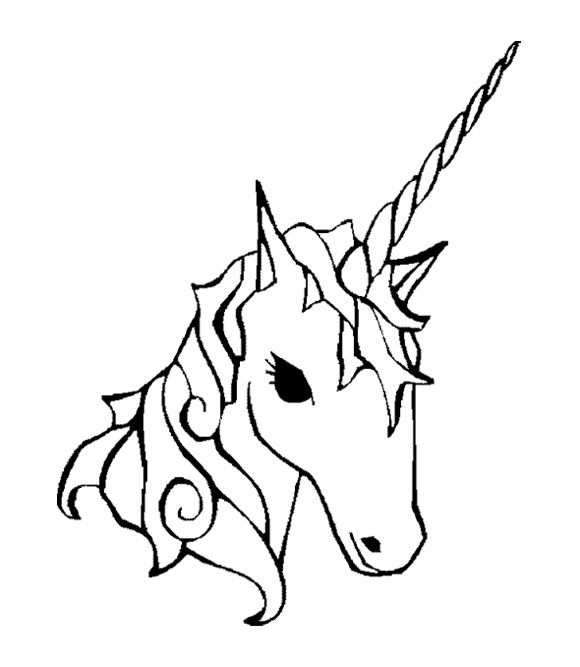 Face unicorn coloring page for kids