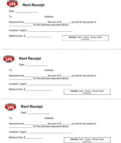 sample receipt for rent