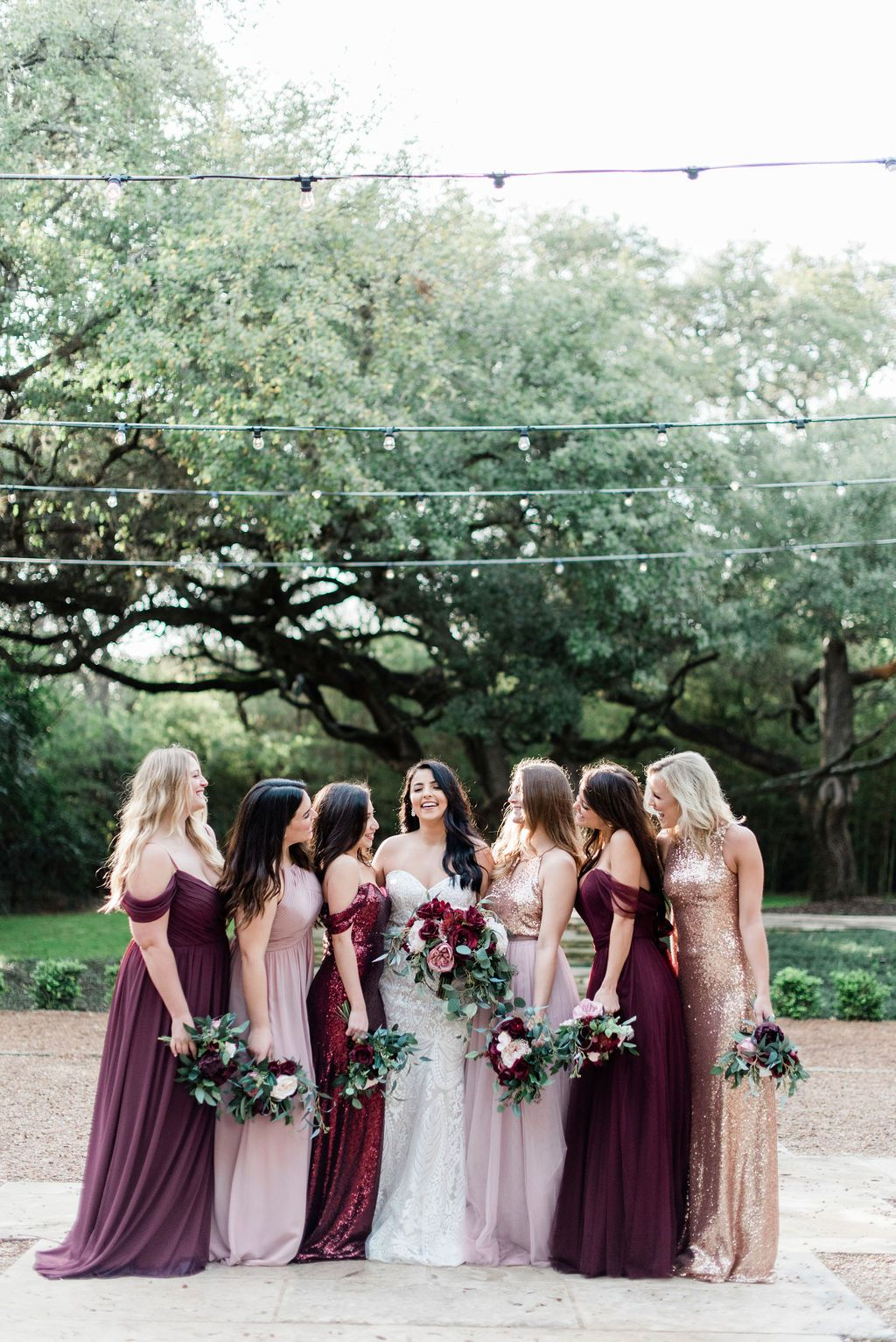 Mix And Match Bridesmaid Dresses Available In Shades Of Cabernet