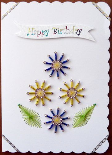 Stitched Card Beaded Flowers With Images Cards Handmade Hand