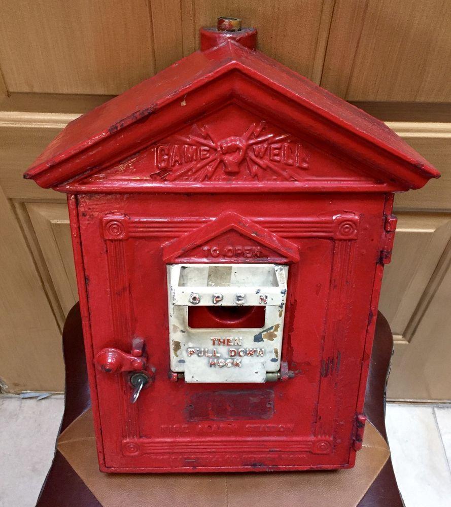 Vintage Gamewell Fire Alarm Station Pull Box W Original
