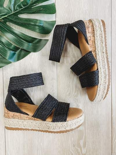 Black Woven Espadrille Sandal is part of Shoes -  Sizing runs true