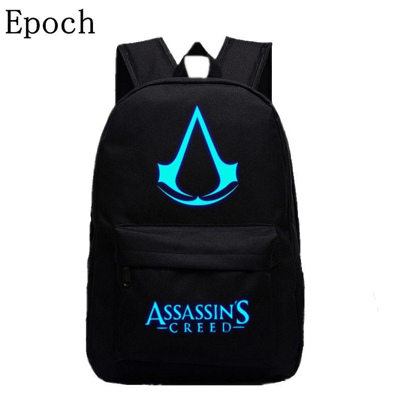 Epoch 2016 Nuovo Disegno Assassins Creed Zaini Luminosi 5 Colori Zaino di Tela Stampa Sacchetti di Scuola Per Adolescenti Zaino