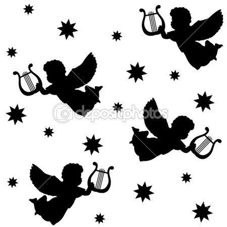 patrón sin costuras de Navidad con siluetas de los Ángeles, arpa y estrellas aislados iconos negros sobre fondo blanco, ilustración vectorial — Vector stock © TabitaZn #40510983