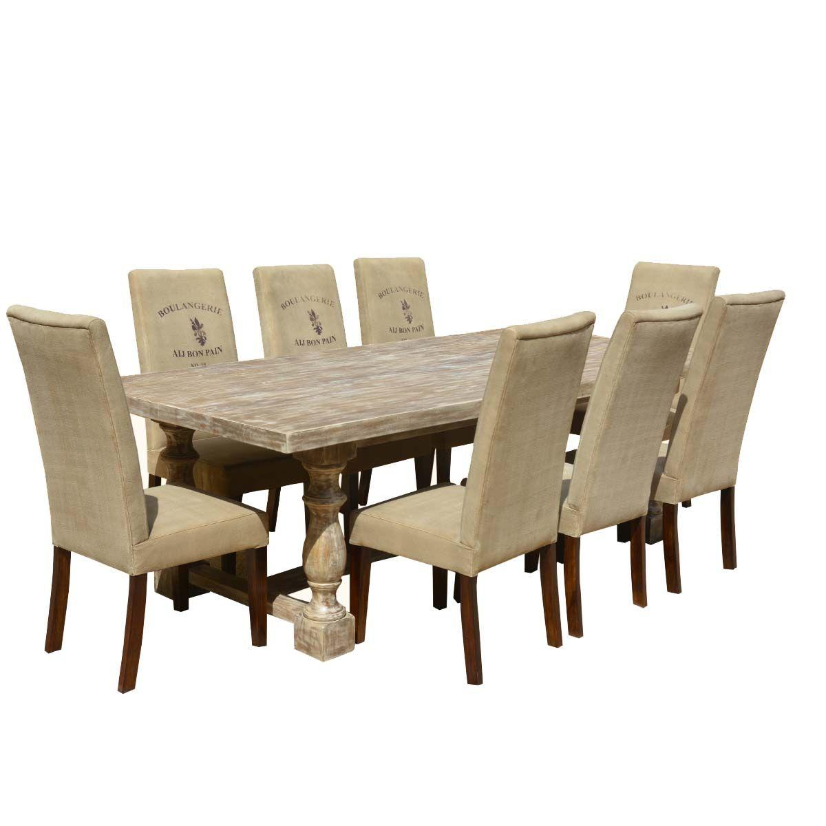 Italian Mango Wood White Dining Table Cafe Logo Fabric Chairs