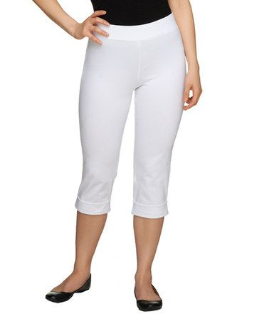 Look what I found on #zulily! White Cuff-Accent Capri Pants ...