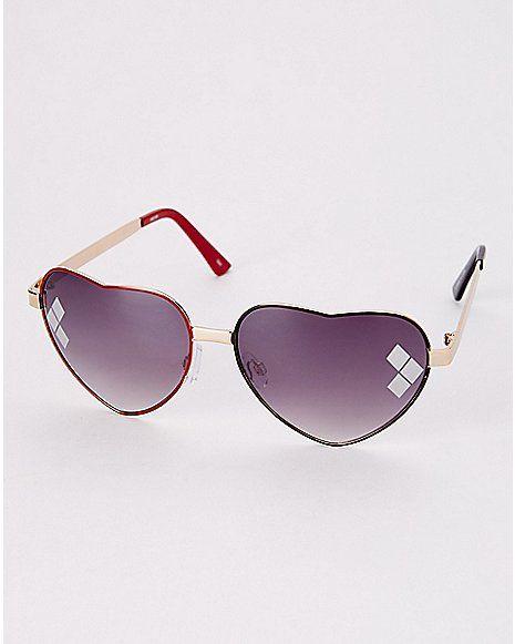 ee6c1c7de18 Harley Quinn Heart Sunglasses- DC Comics - Spencer s