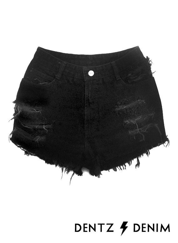 High waist denim shorts black