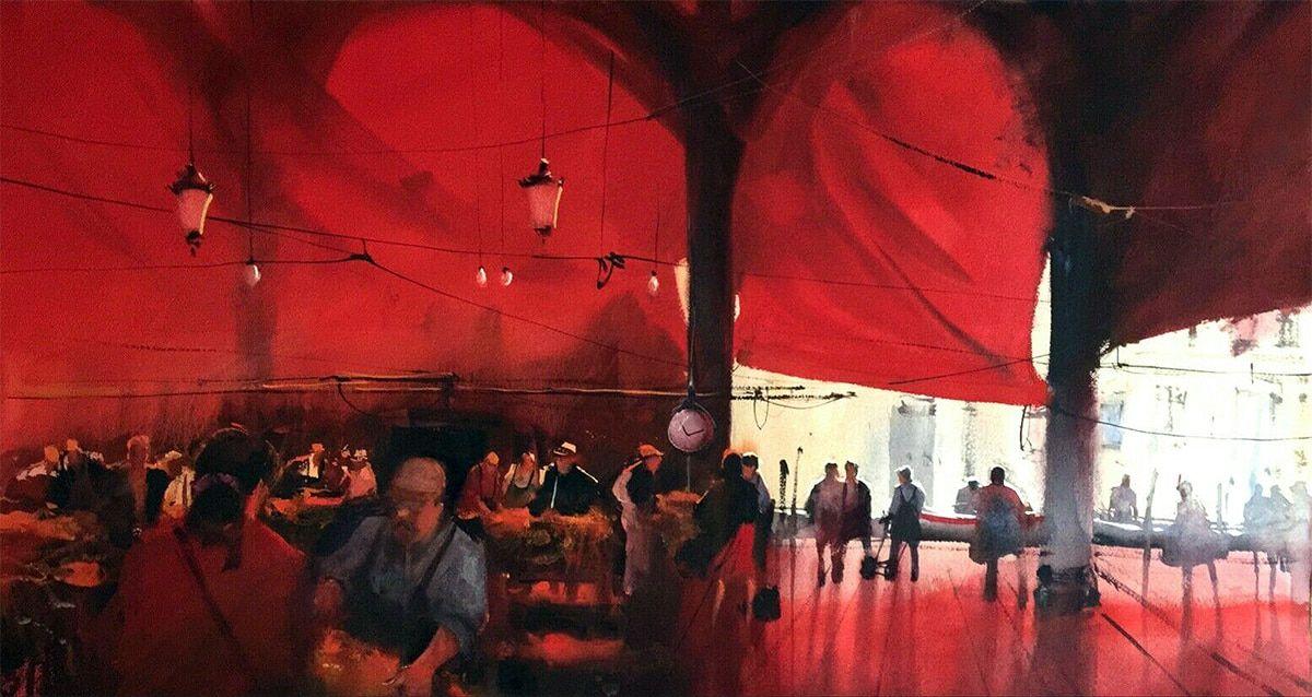 Mercado del puerto Alvaro Castagnet 113 x 67 cm Watercolour  Álvaro Castagnet  #alvarocastagnet #acuarela #watercolor #galeriadeartetrinotortosa #ventadearte