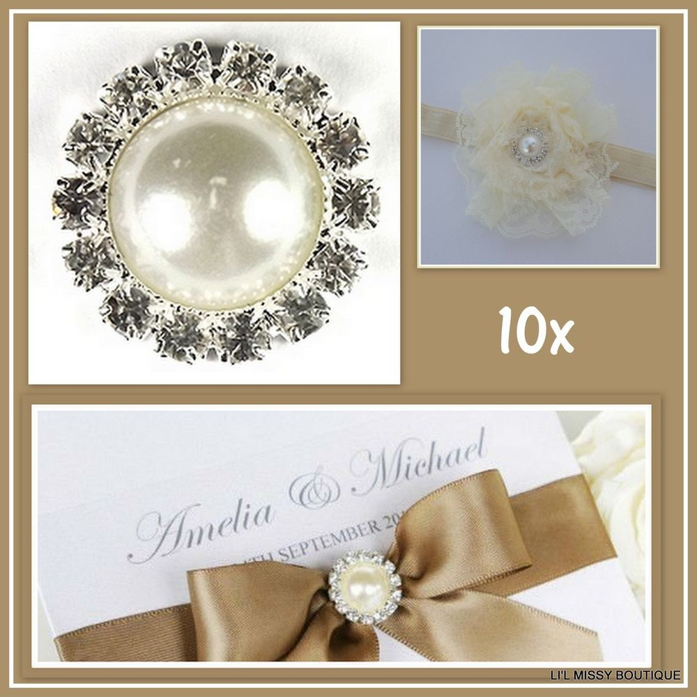 19mm ROUND PEARL DIAMANTE RHINESTONE BUTTON BUCKLE WEDDING ...