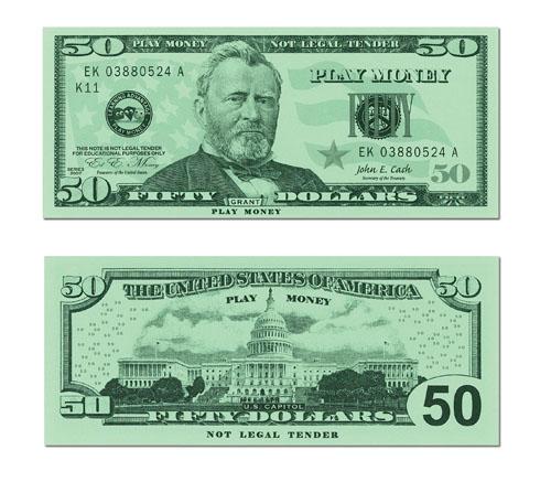 50 Dollar Bill Play Money Play Money Printable Play Money Money Template