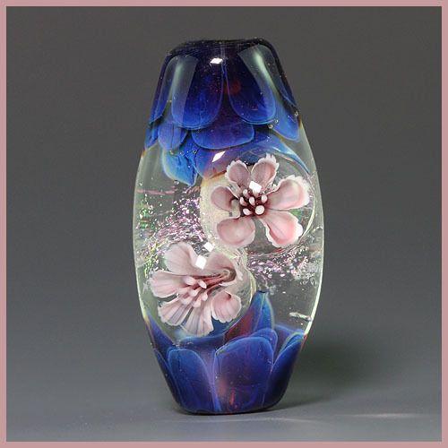 Ikuyoglassart Handmade Lampwork Flower Silver glass Focal Bead SRA