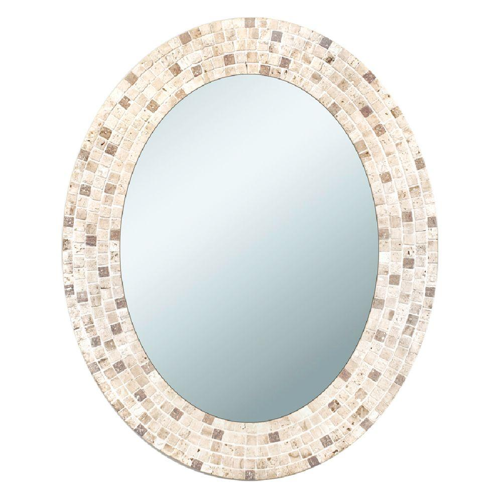 Deco Mirror 25 In X 31 In Travertine Mosaic Oval Mirror 8668 The Home Depot Oval Mirror Oval Wall Mirror Oval Mirror Bathroom