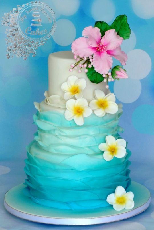 hawaii themed wedding cake ruffle cakes pinterest themed wedding cakes themed weddings. Black Bedroom Furniture Sets. Home Design Ideas