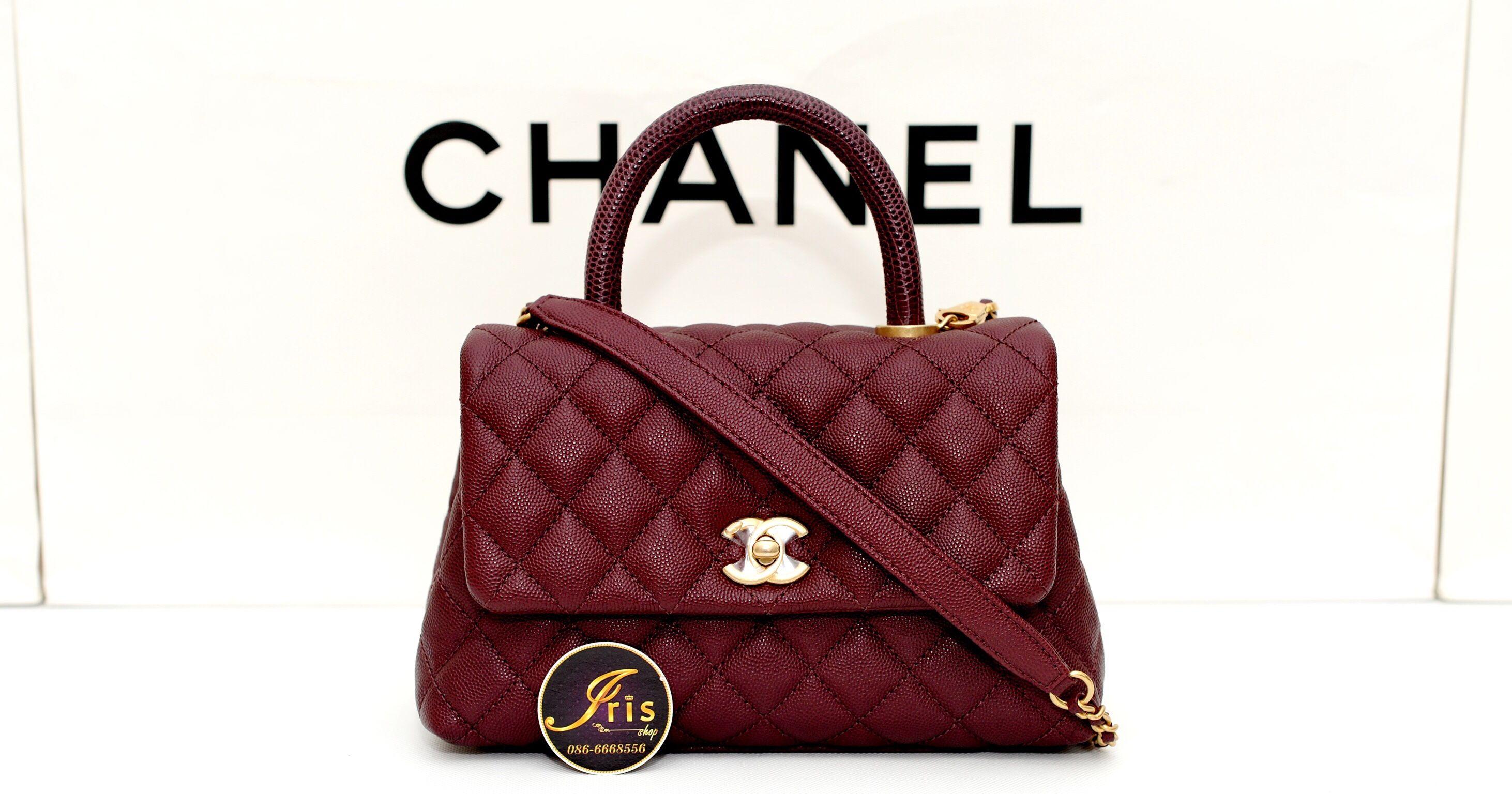 b5fd0a5f507f กระเป๋า Chanel Coco 9.5″ in Burgundy Caviar Lizard GHW สวย หูแดงหายาก ของ