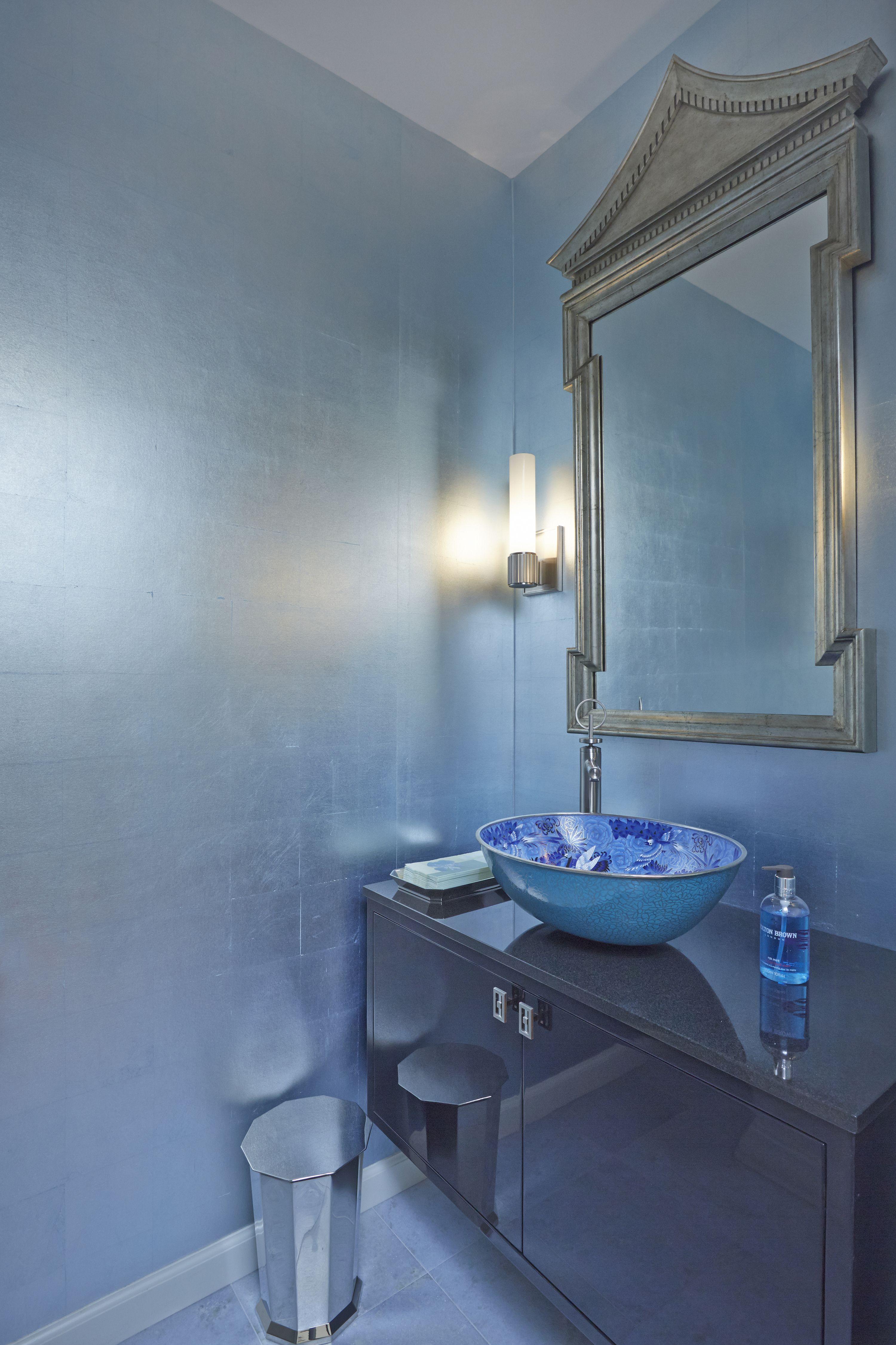 Blue monochromatic, multi tonal bathroom with vessel sink, custom ...