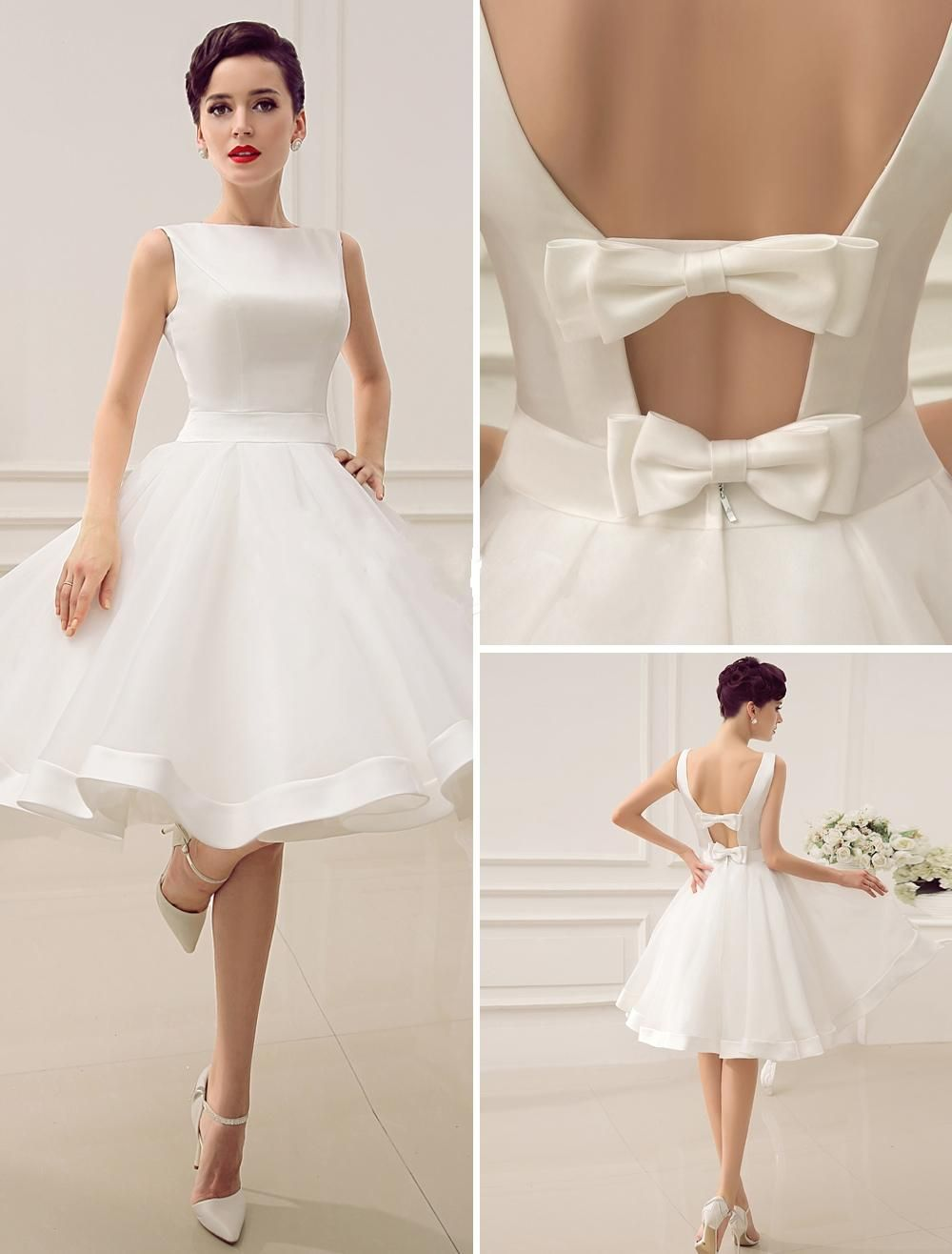 2015 Short Wedding Dresses Vintage Bateau Neckline Deep V Back ...