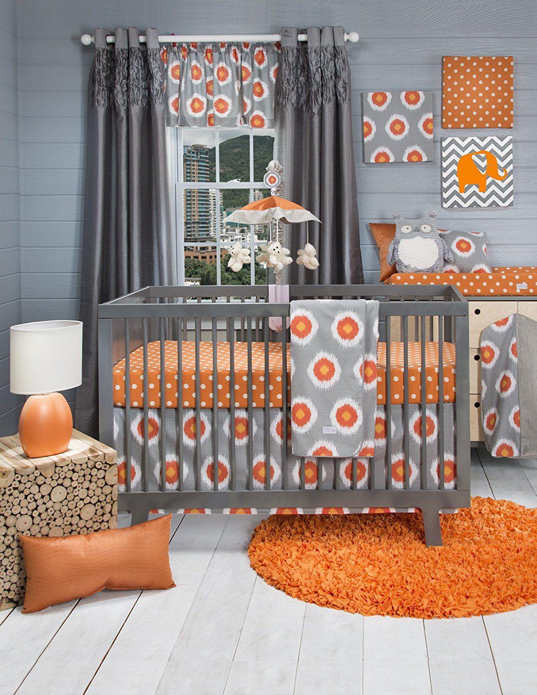 Orange And Grey Baby Crib Bedding Crib Bedding Baby Nursery