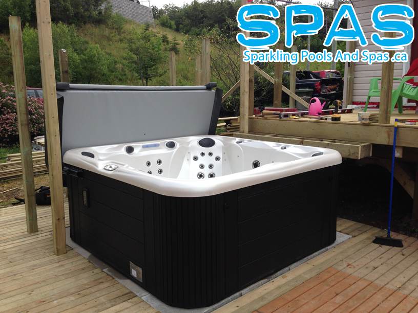 Love the sheen of this S104 Sunrise Spas hot tub in cameo. We ...