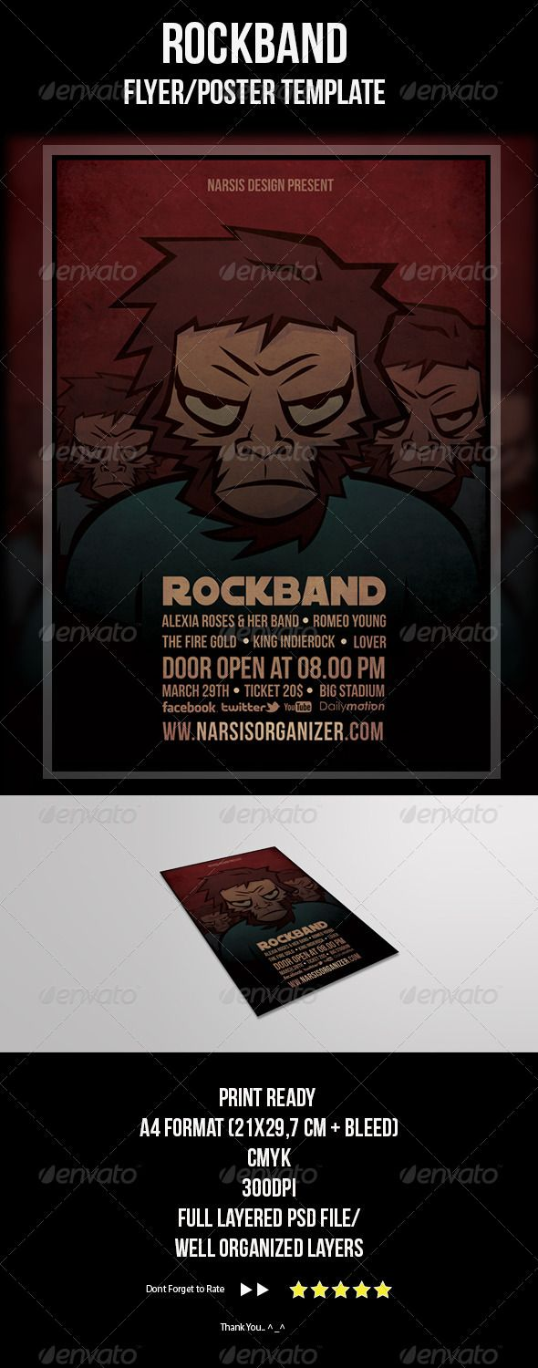 Rock Band Flyer Template  Flyer Template Rock Bands And Template