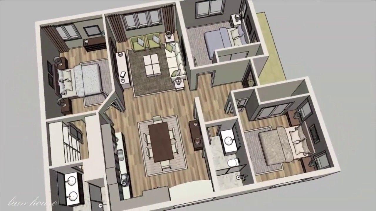 3d House Plan 10x12m With 3 Bedrooms 2 Bath And Large Kitchen Em 2020 Casas Decoracao Ideias