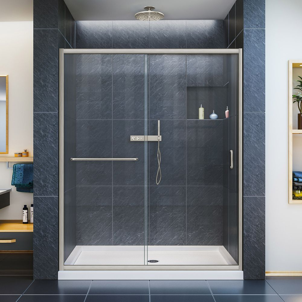 Infinity Z 32 Inch D X 54 Inch W Clear Shower Door In Brushed Nickel And Center Drain White Base Semi Frameless Shower Doors Shower Doors Clear Shower Door