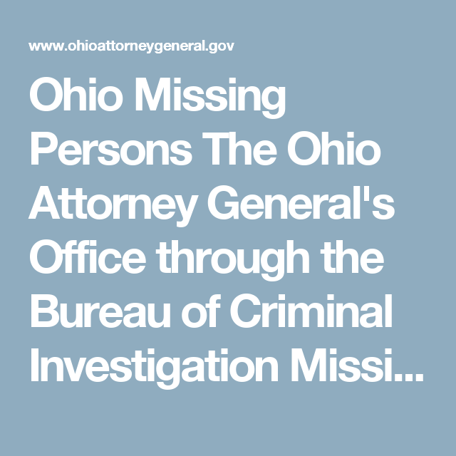 Ohio Missing Persons The Ohio Attorney General's Office