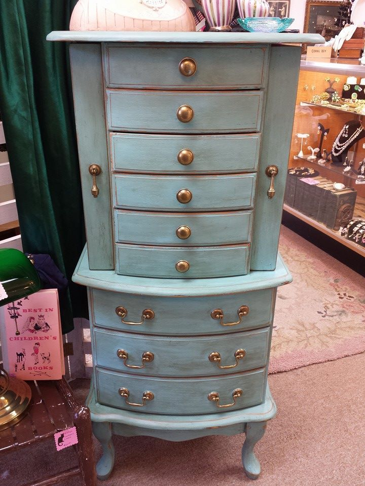 Very Lovely Very Large Free Standing Jewelry Armoire Done In Our Signature Turquoise Col Standing Jewelry Armoire Jewelry Armoire Diy Jewelry Armoire Makeover