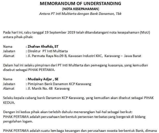 Contoh Memorandum Of Understanding Mou Kerjasama Sekolah Perusahaan Dinas Organisasi Dan Lain Sebagainya Surat Sekolah Organisasi