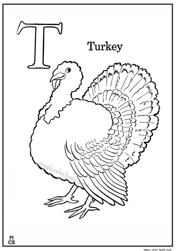 Alphabet T With Picture Coloring Pages Turkey Warna