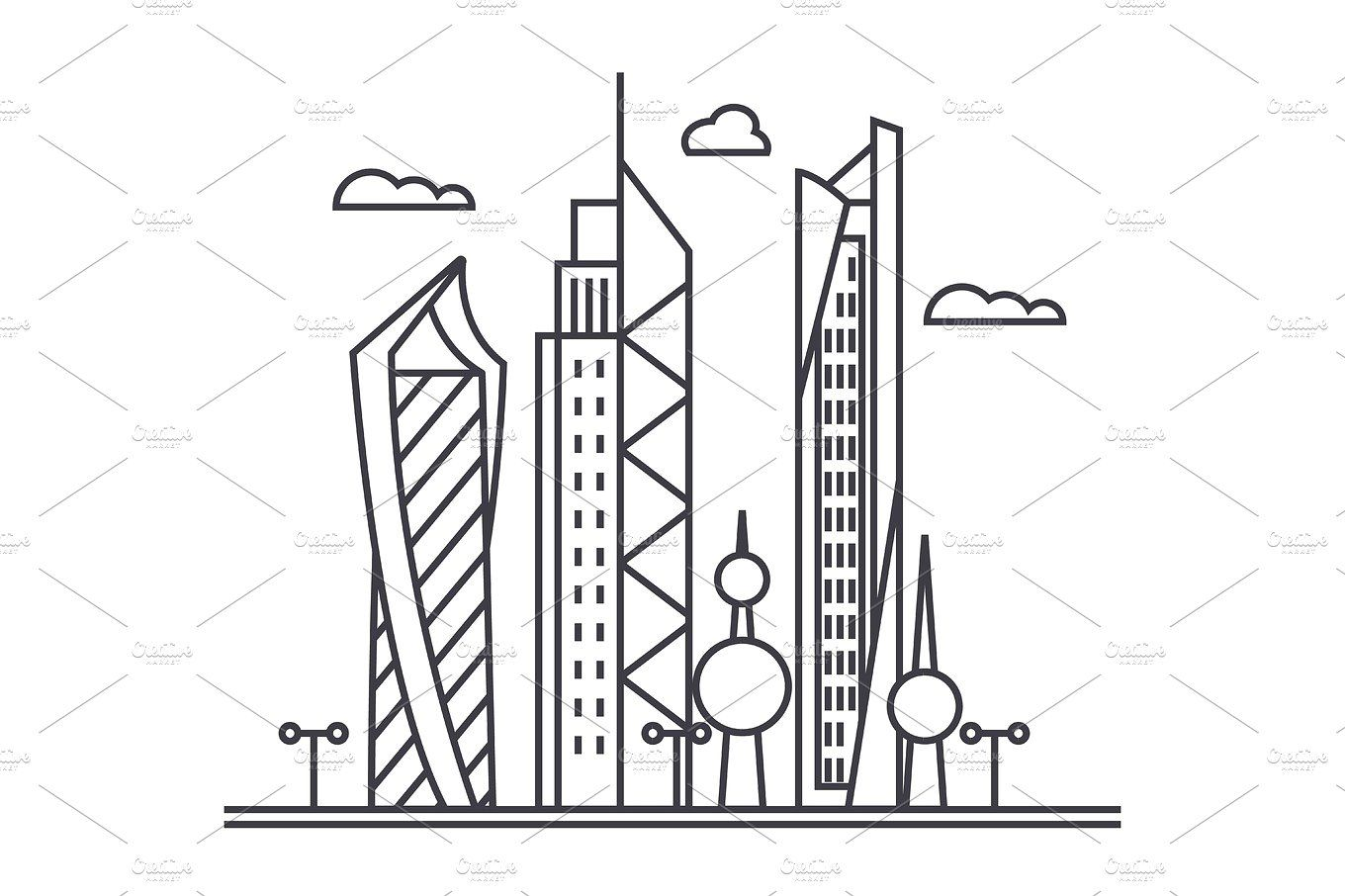 Kuwait City Vector Line Icon Sign Illustration On Background