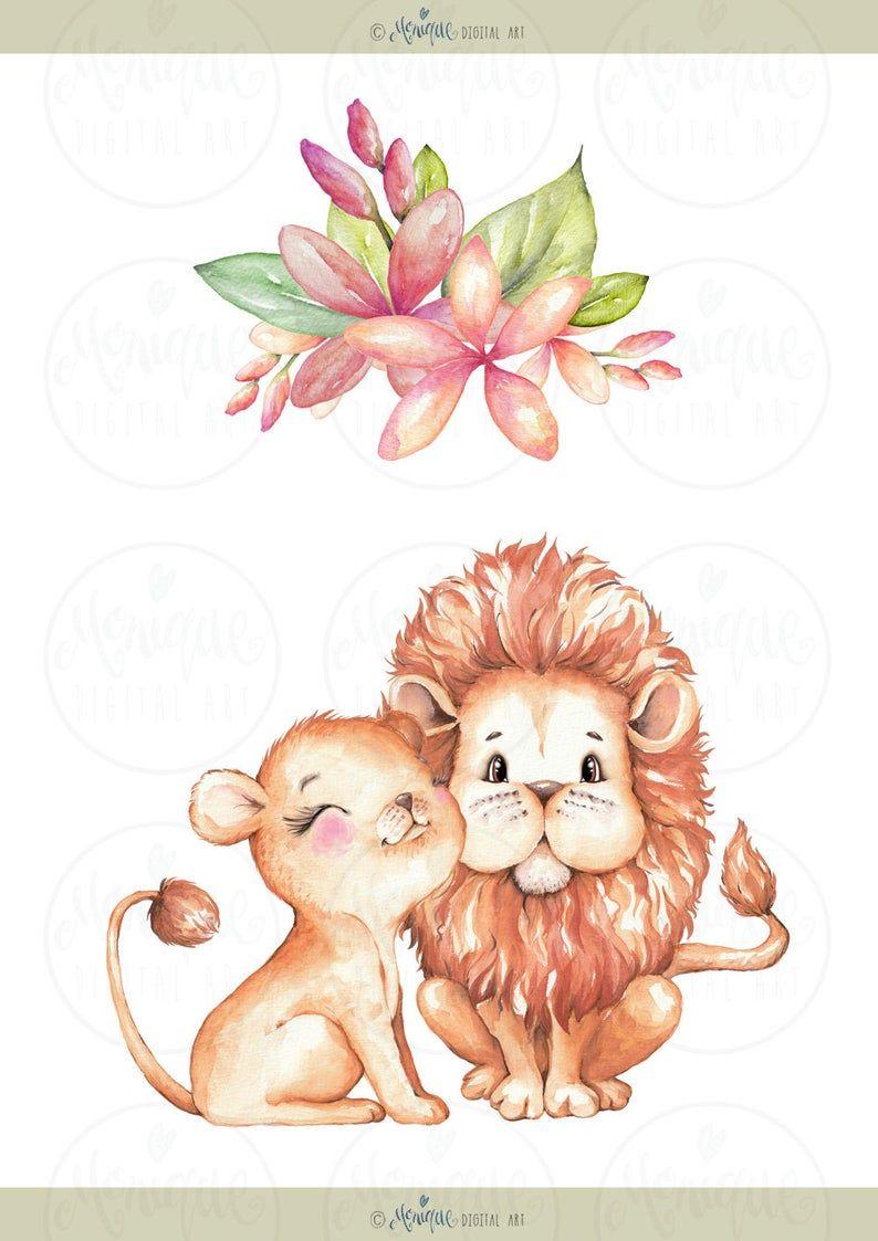Cute Lions Clipart Watercolor Jungle Animals Clipart Monique Digital Art Lion Family Palm Trees Animals Clipart Watercolor Baby Lion Animal Clipart Cute Lion Lion Clipart