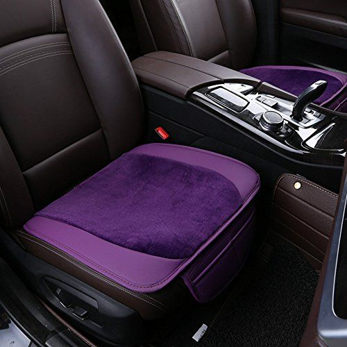 ANKIV Purple 3pcsSET Universal Fit 5 Seats Car Soft Warm Velvet PU Leather  Patchwork Car Seat 85c258461