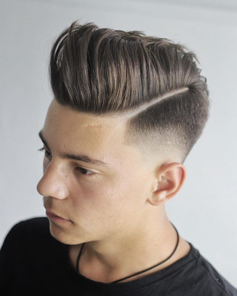 Low skin fade haircut men hard part with pompadour menshairstyles  mens hairstyles in