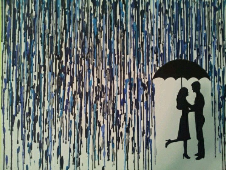 Crayon Art Silhouette Of A Couple In The Rain