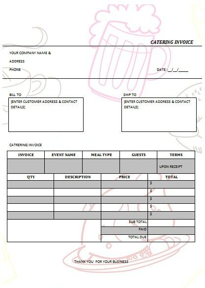 CATERING INVOICE 1 catering ideas Pinterest Catering and - plumbing receipt