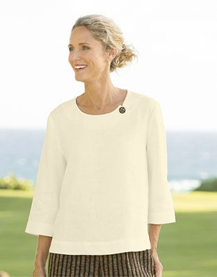 Just found this Pullover Shirt for Women - Shoreline Linen Single-Button Shirt -- Orvis on Orvis.com!