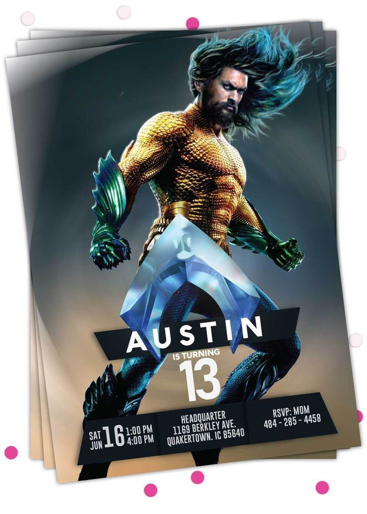Aquaman Birthday Invitation Aquaman Printable Birthday Invitation