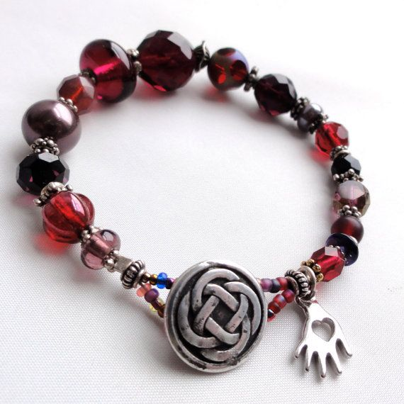 Glass Bead Sterling silver Burgandy Wine Beaded Love Bead Bracelet by The Connie Hanna Jewels