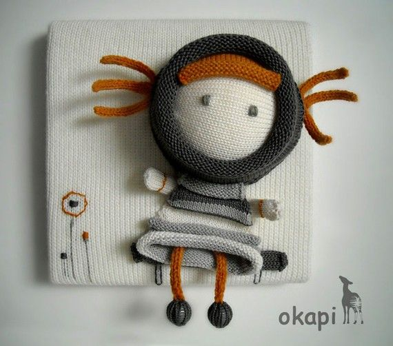 """Knitted canvas for the wall.  $60.00                    """"I'm Lili.  I'm waiting for you.   I want to bring happiness into your room.  Love me!  Lili """""""